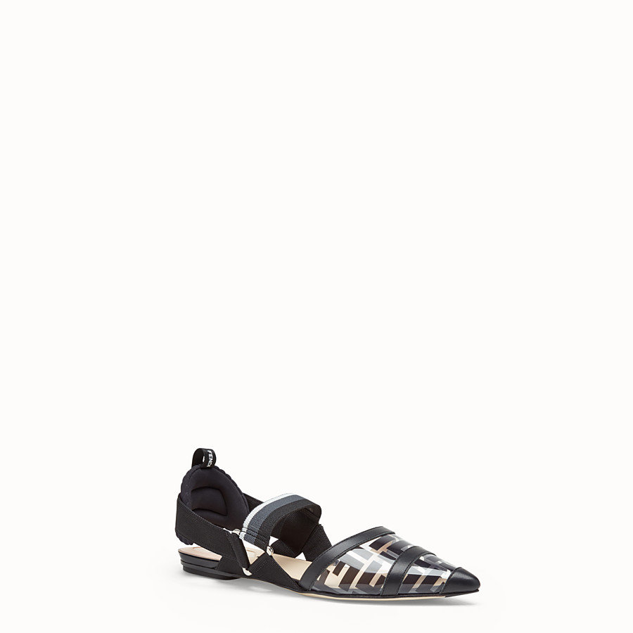 FENDI SANDALS - Flats in PU and black leather - view 2 detail