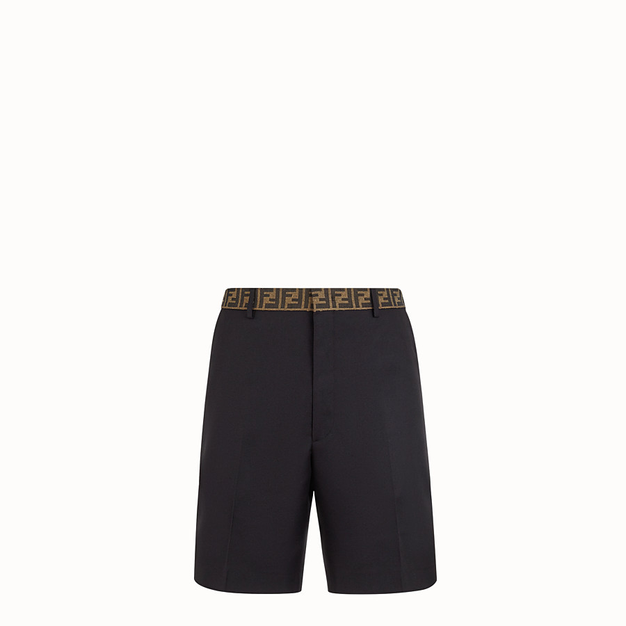 FENDI BERMUDAS - Black gabardine trousers - view 1 detail