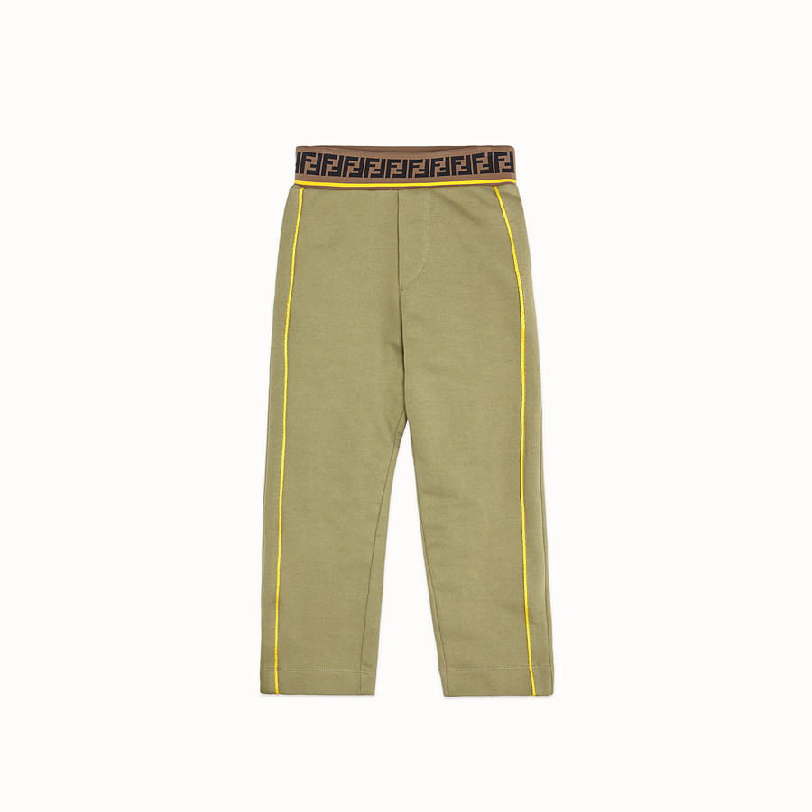 FENDI TROUSERS - Khaki fleece trousers - view 1 detail