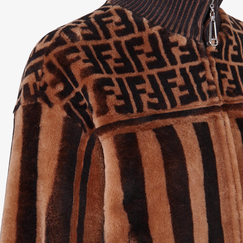 FENDI JACKET - Multicolor shearling bomber jacket - view 3 detail