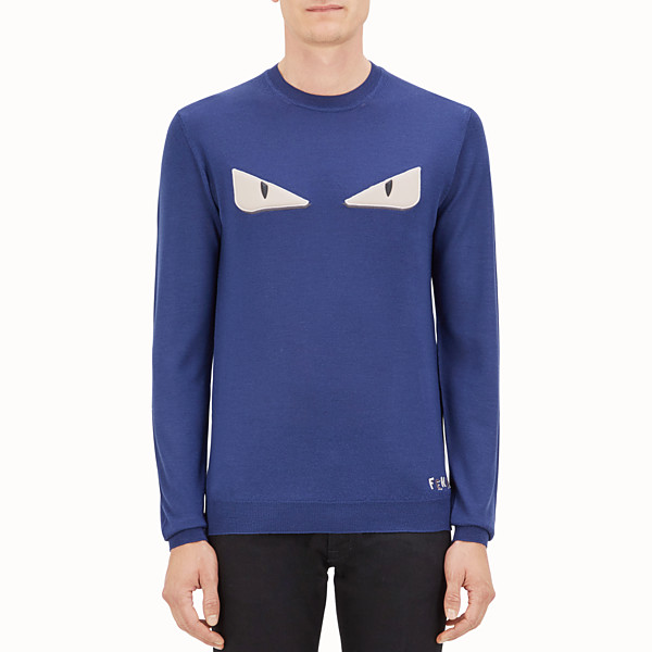 FENDI PULLOVER - Blue wool jumper - view 1 small thumbnail