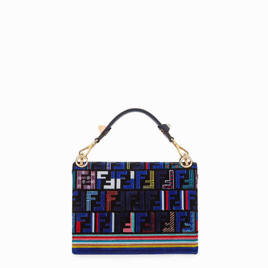 FENDI KAN I - Blue leather and silk bag - view 3 detail