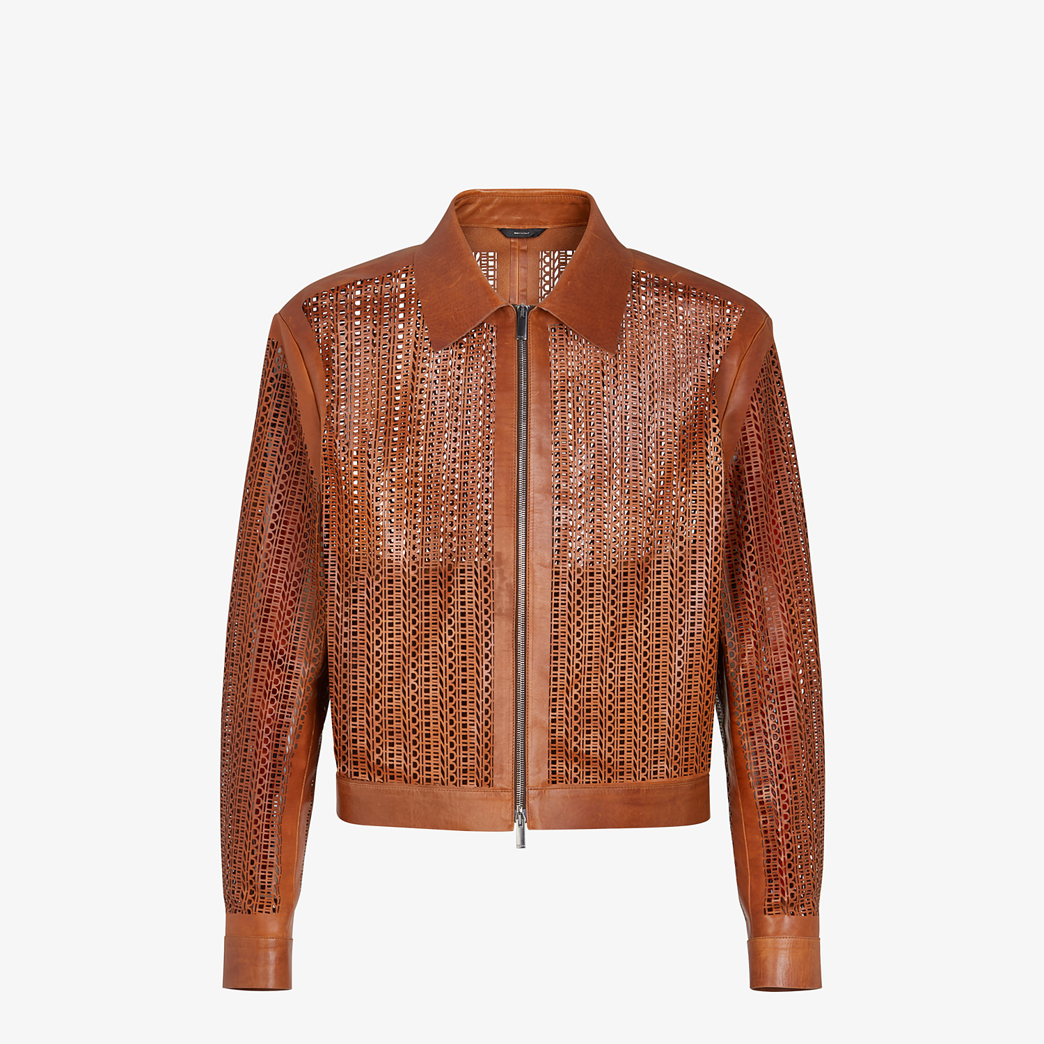 FENDI JACKET - Brown leather blouson - view 1 detail