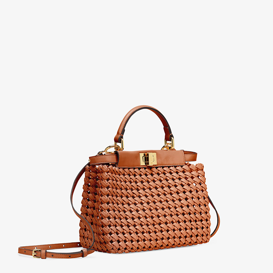 FENDI PEEKABOO ICONIC MINI - Brown leather interlace bag - view 3 detail
