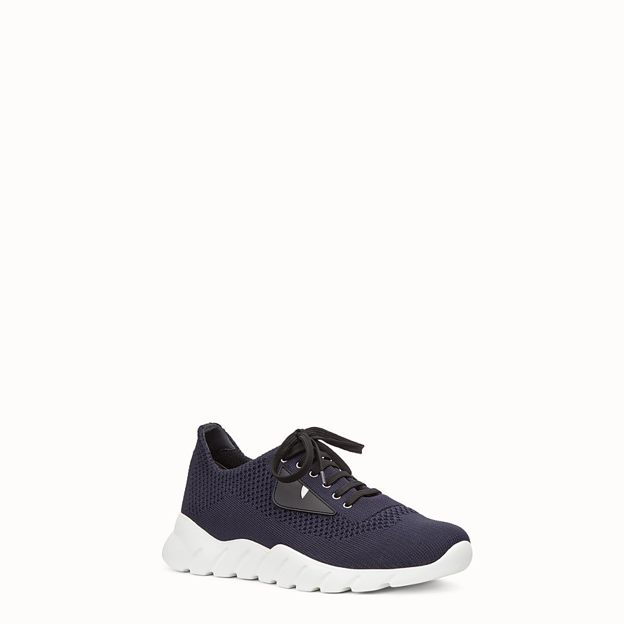 FENDI SNEAKERS - Running shoes in blue fabric and black leather - view 2 detail
