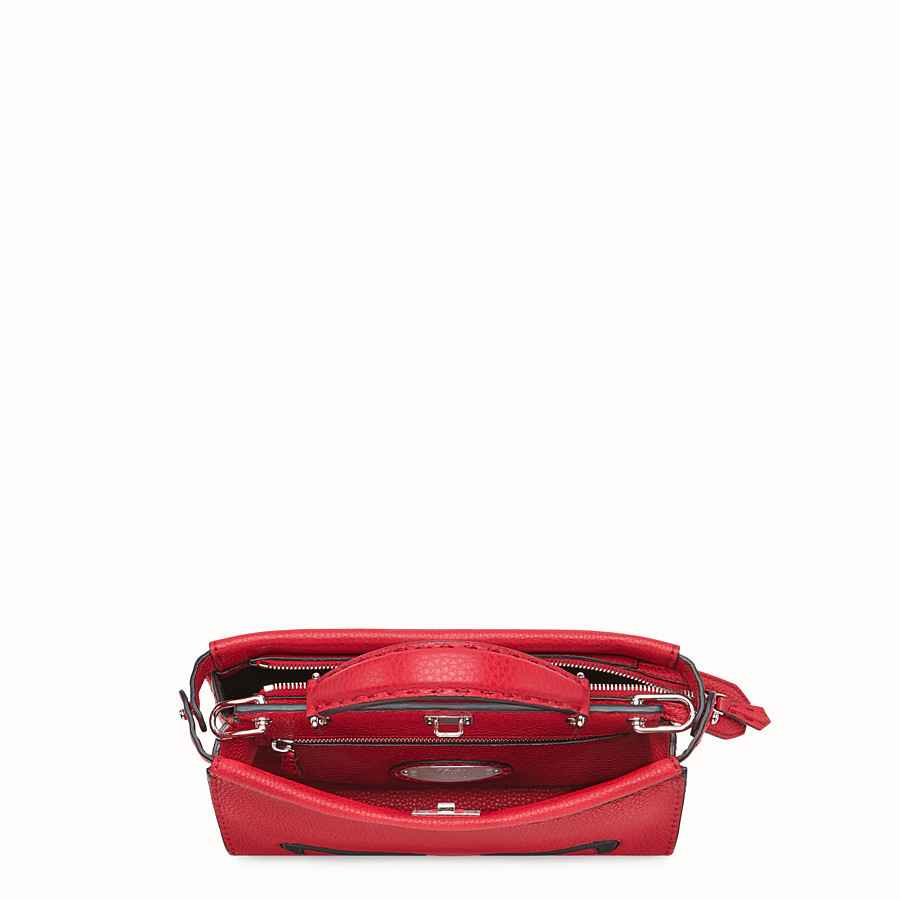 FENDI MINI PEEKABOO FIT - Red Romano leather bag - view 4 detail