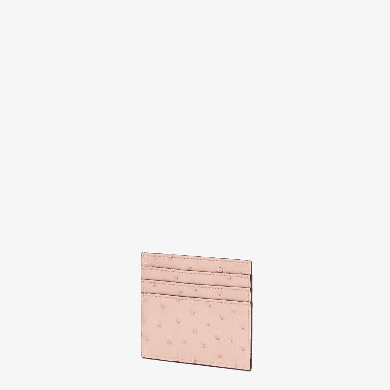 FENDI CARD HOLDER - Pink ostrich leather flat card holder - view 2 detail