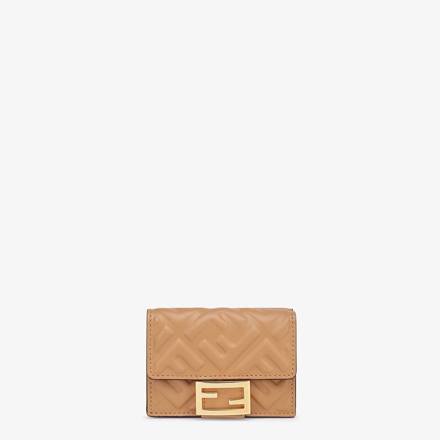 FENDI MICRO TRIFOLD - Beige nappa leather wallet - view 1 detail