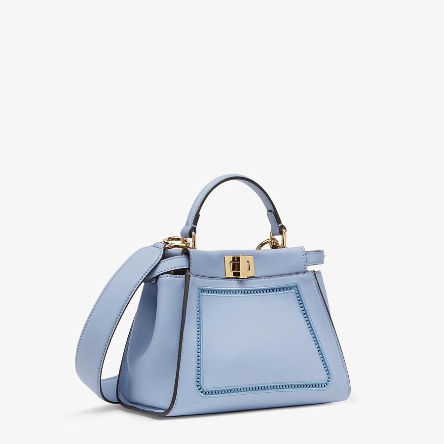 FENDI PEEKABOO ICONIC MINI - Light blue leather bag with embroidery - view 3 detail