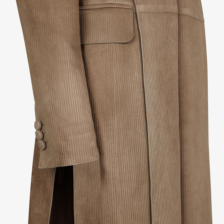 FENDI OVERCOAT - Brown suede overcoat - view 3 detail