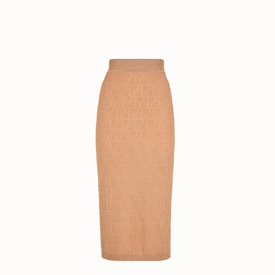 FENDI SKIRT - Beige cotton and viscose dress - view 1 detail