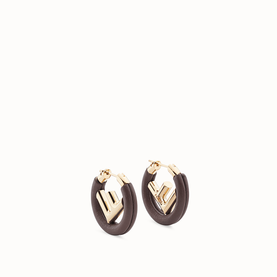FENDI F IS FENDI EARRINGS - Brown leather earrings - view 1 detail