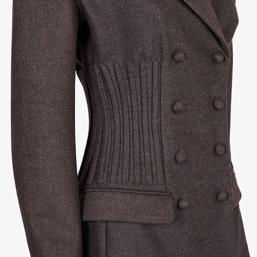 FENDI JACKET - Brown cashmere and flannel jacket - view 3 detail