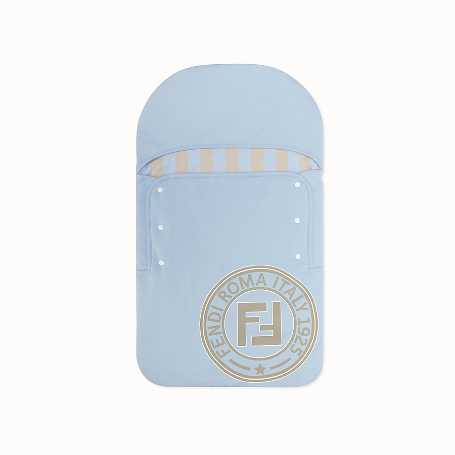 FENDI BABY SLEEPING BAG - Light blue cotton baby sleeping bag - view 1 detail
