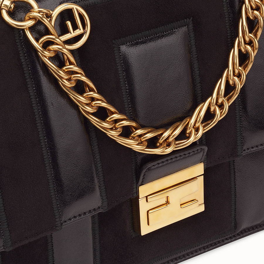 FENDI KAN U - Black leather and suede bag - view 6 detail