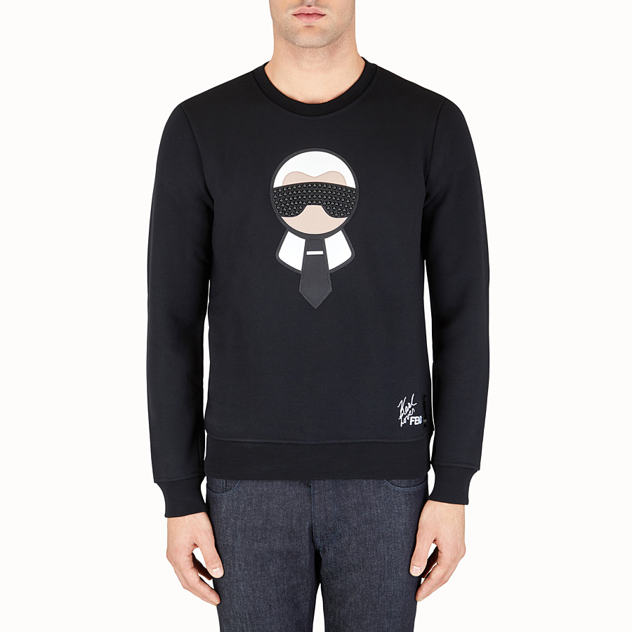 FENDI SWEATSHIRT - in printed black jersey with studs - view 1 detail