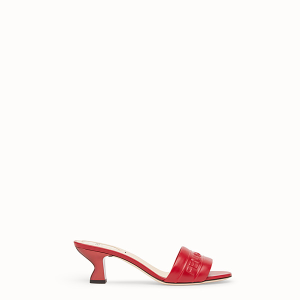 FENDI SANDALS - Red leather slides - view 1 small thumbnail