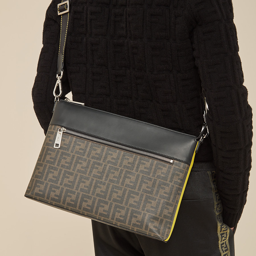 FENDI MESSENGER - Brown fabric slim pouch - view 6 detail