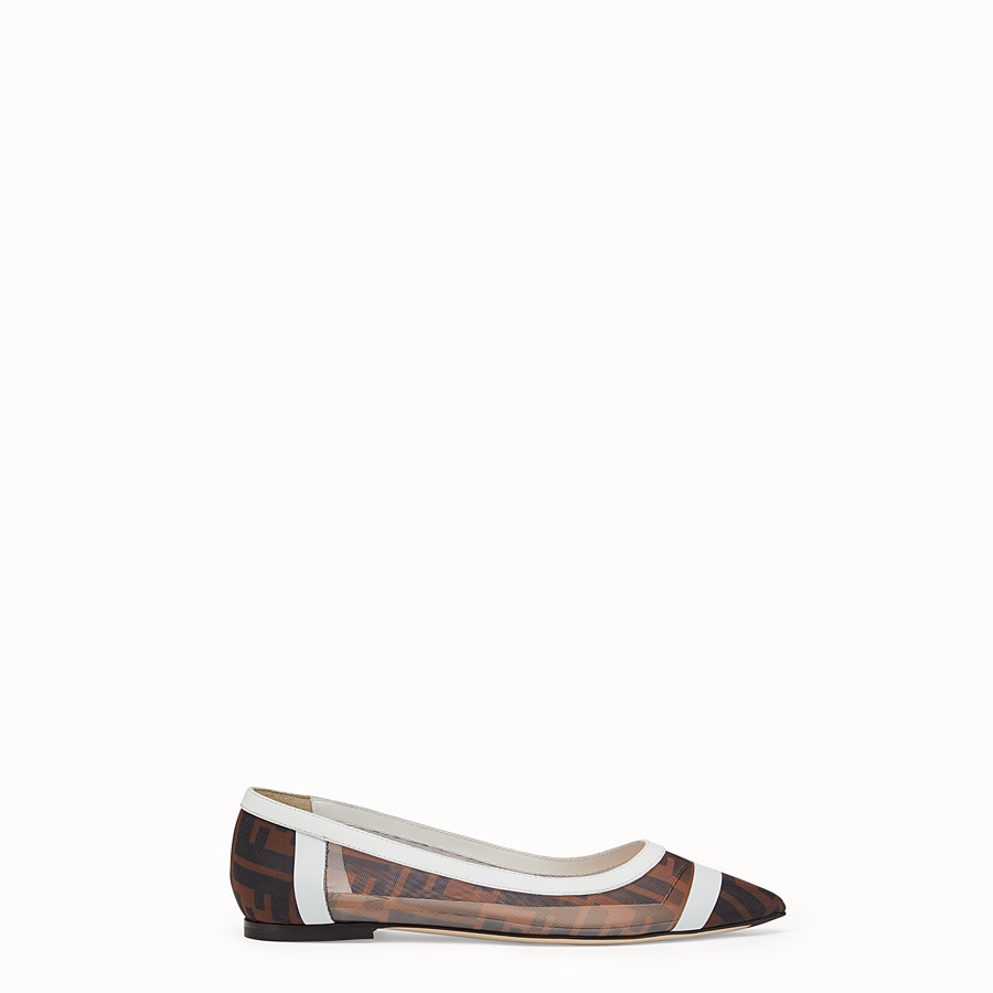 FENDI BALLERINAS - Mesh and white leather flats - view 1 detail