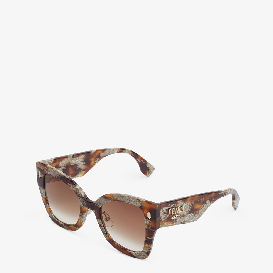 FENDI FENDI ROMA - Sunglasses in Havana-color animalier acetate - view 2 detail