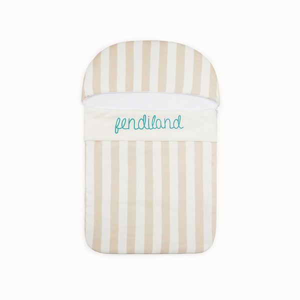 FENDI BABY SLEEPING BAG - Ivory and beige cotton and chenille baby sleeping bag - view 1 small thumbnail