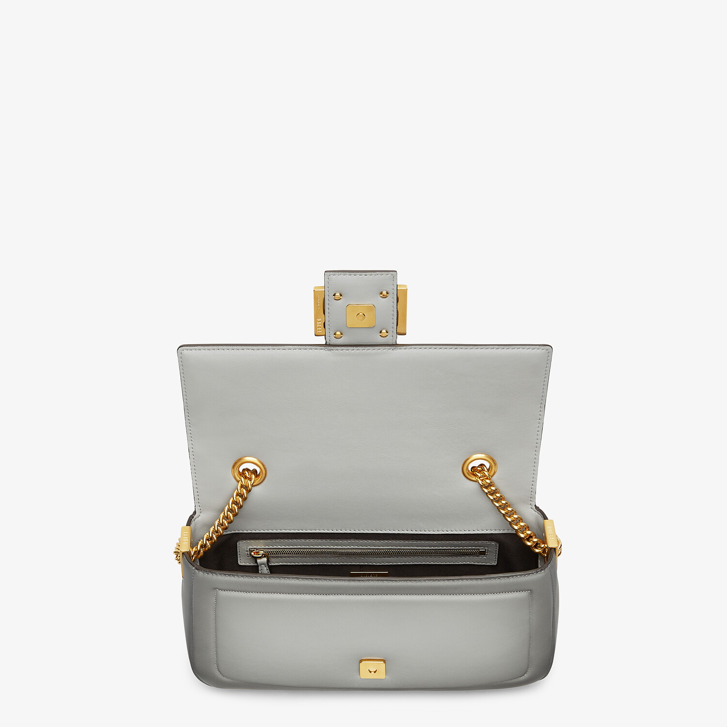 FENDI BAGUETTE CHAIN - gray nappa leather bag - view 4 detail