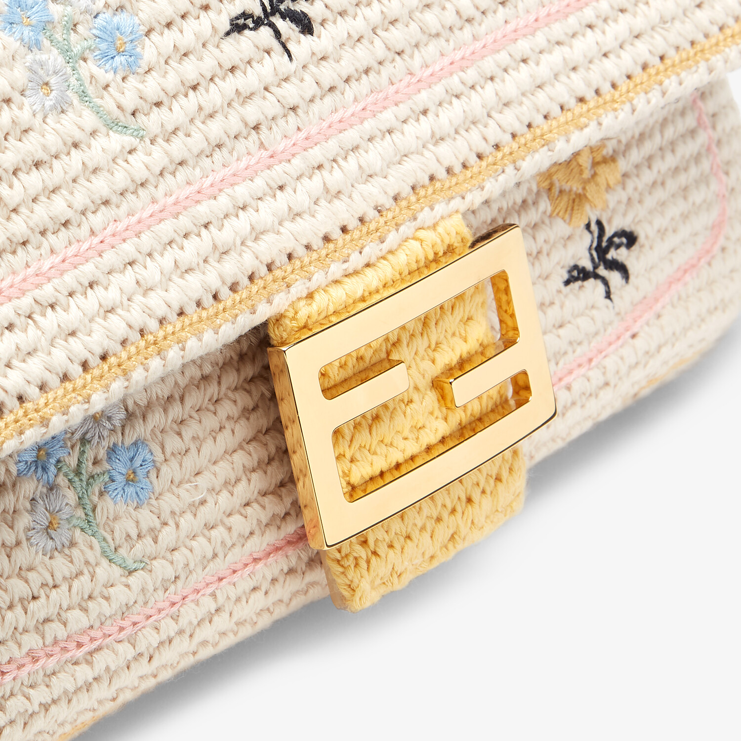 FENDI BAGUETTE - White embroidered cotton bag - view 5 detail