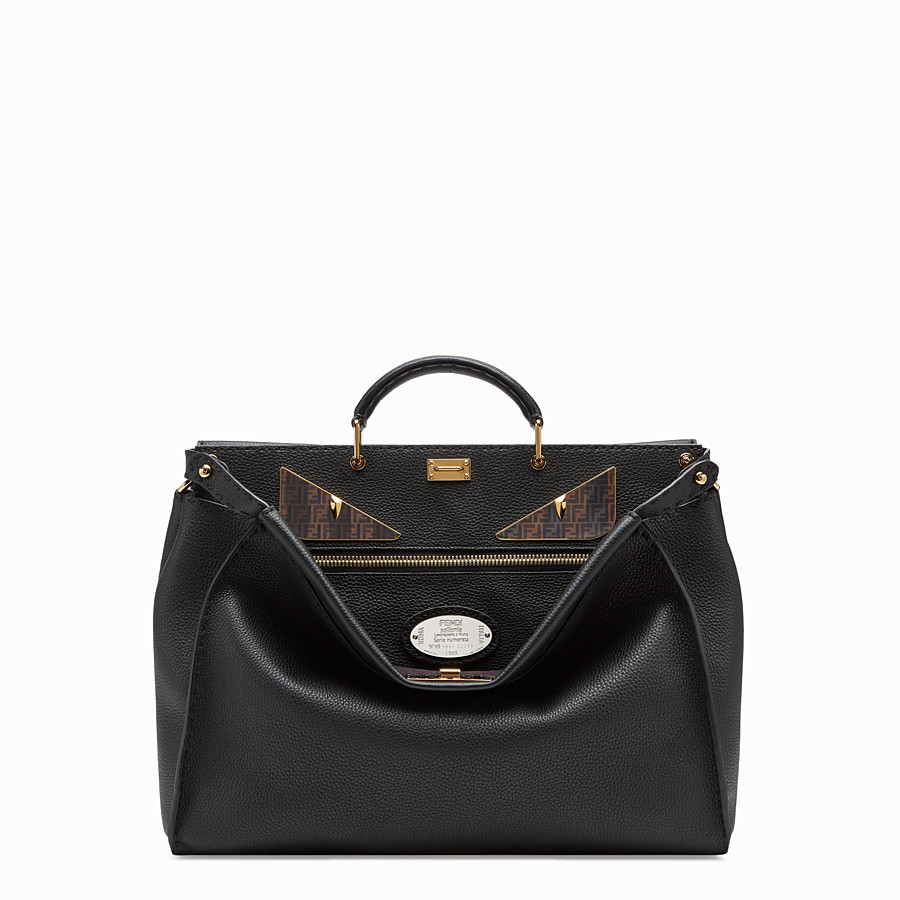 FENDI PEEKABOO REGULAR - Black leather bag - view 1 detail