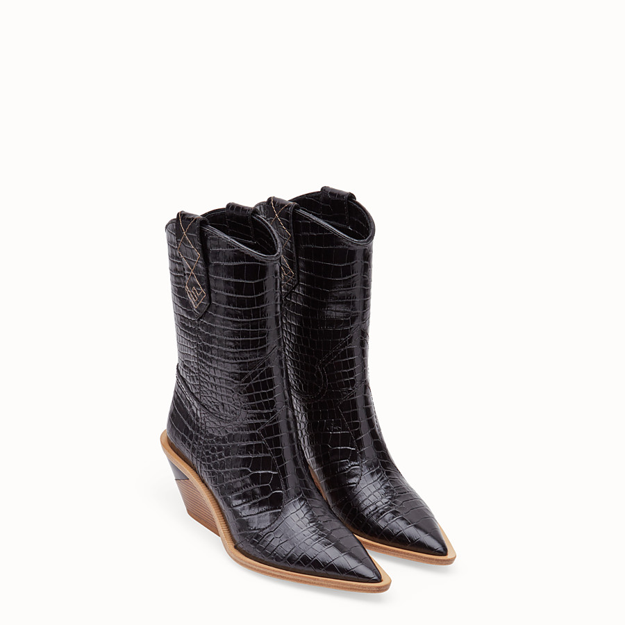 FENDI BOOTS - Black crocodile-embossed ankle boots - view 4 detail