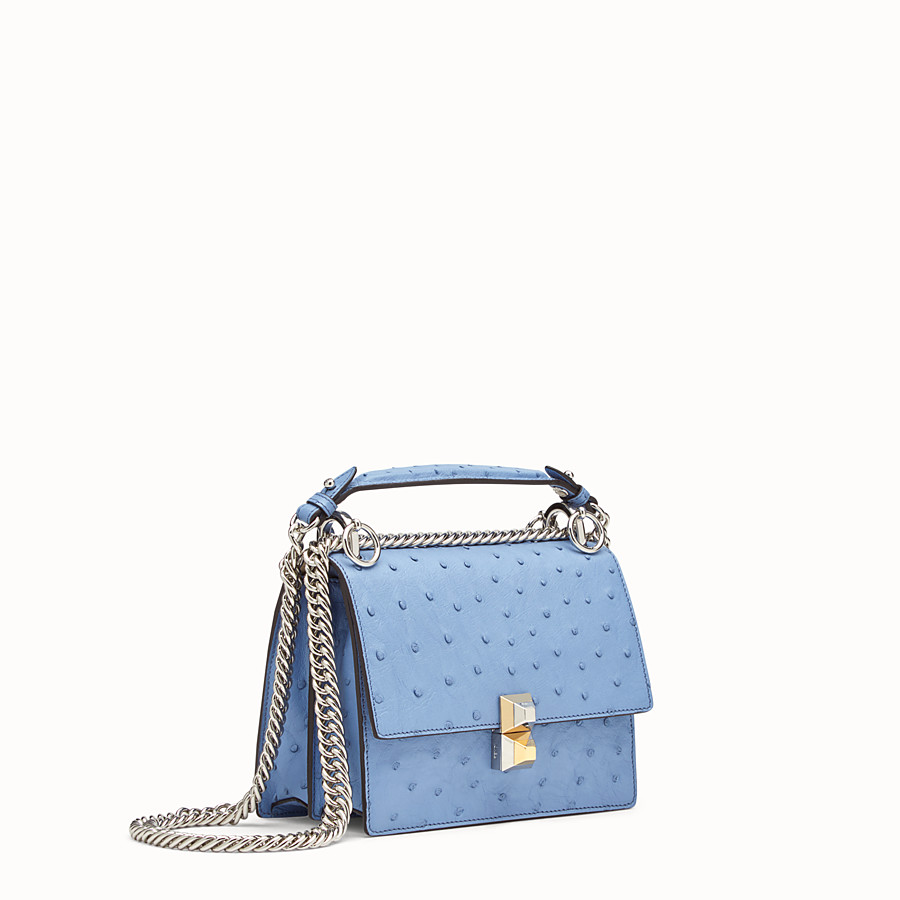 FENDI KAN I SMALL - Light blue ostrich mini-bag - view 2 detail