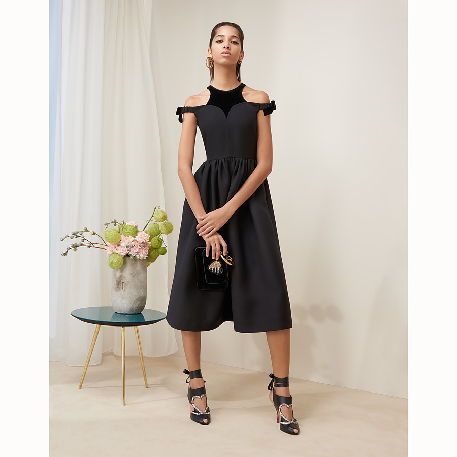 FENDI DRESS - Black silk and wool dress - view 4 detail