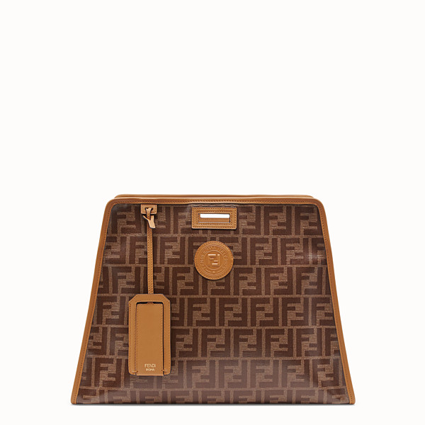 FENDI MEDIUM PEEKABOO DEFENDER - Peekaboo cover in brown fabric  - view 1 small thumbnail