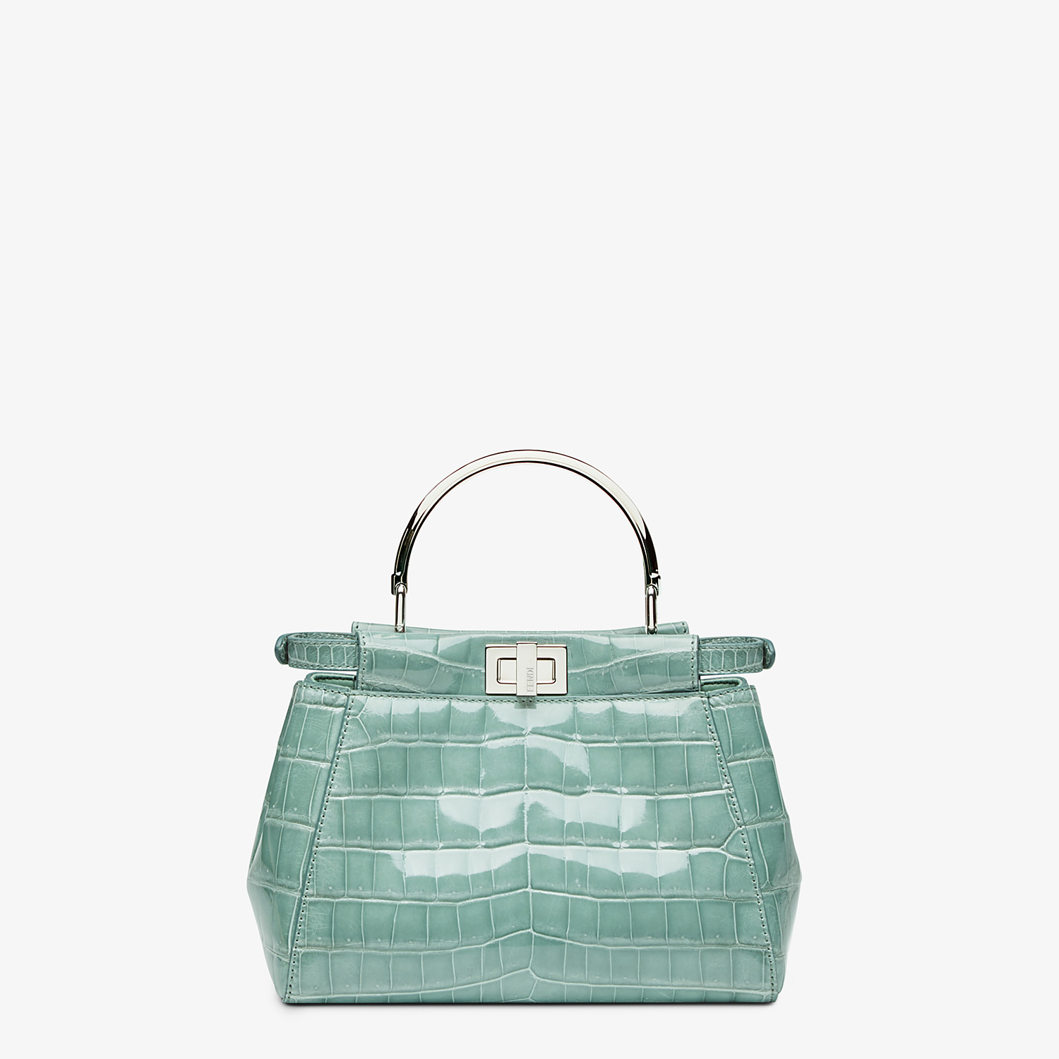 FENDI PEEKABOO ICONIC MINI - handbag in aqua green crocodile - view 3 detail