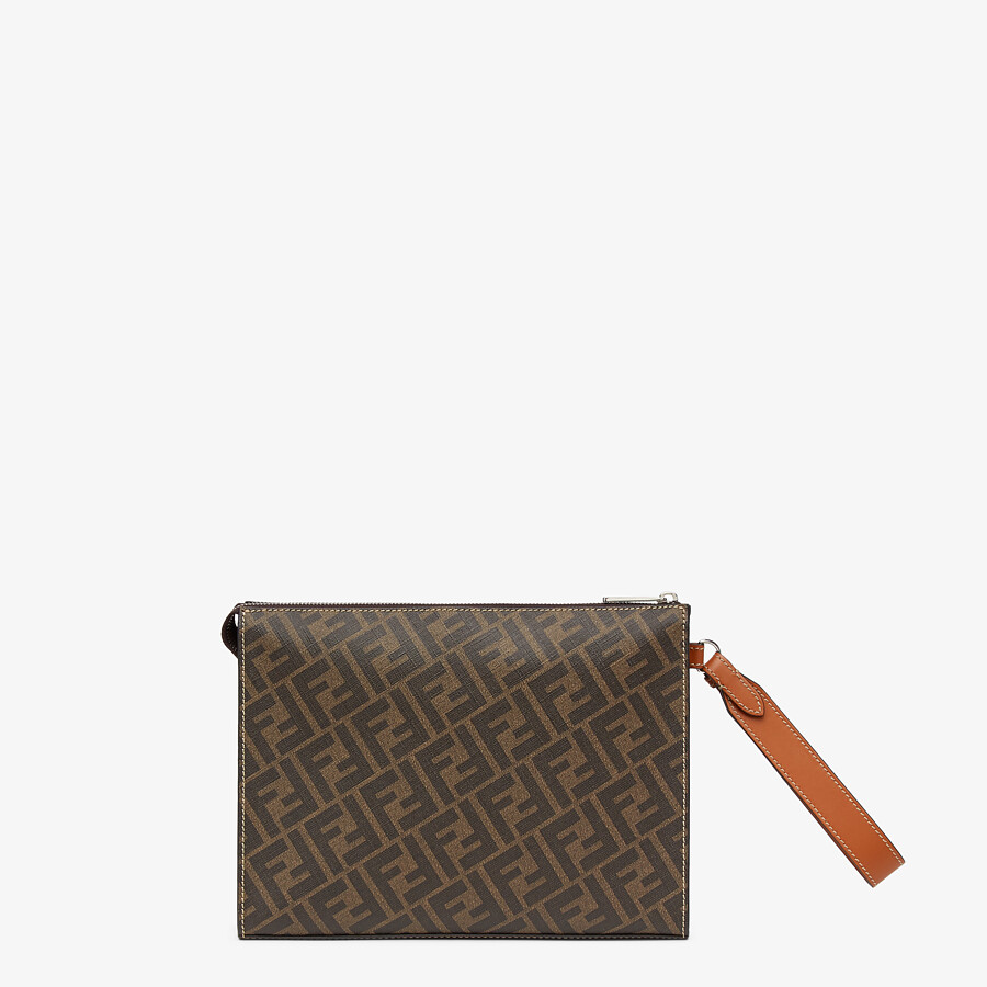 FENDI FLAT POUCH - Brown fabric pouch - view 3 detail
