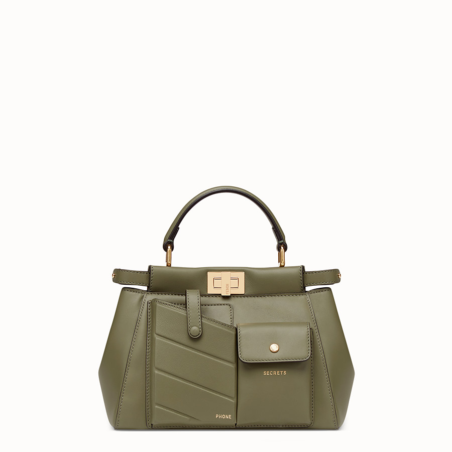 FENDI PEEKABOO MINI POCKET - Green leather bag - view 1 detail