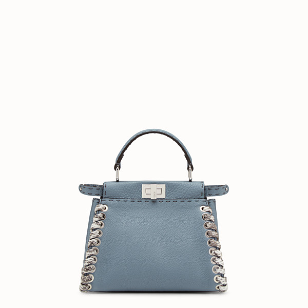 FENDI PEEKABOO MINI - Light blue Selleria handbag with weave - view 1 small thumbnail