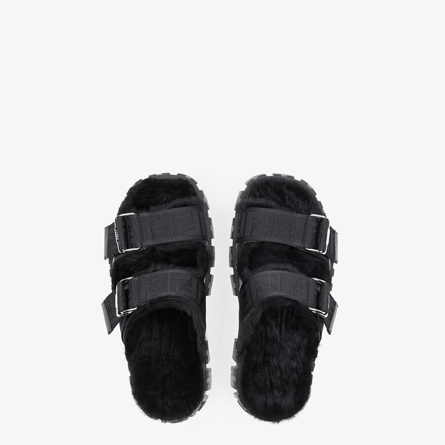 FENDI SANDALS - Black rabbit fur sandals - view 4 detail