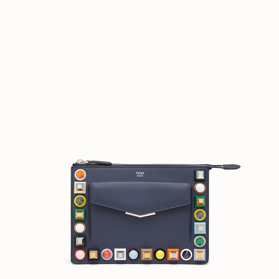 FENDI MINI POUCH - Studded pouch in blue leather - view 1 detail