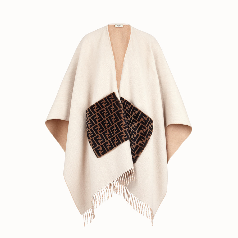 FENDI PONCHO - Beige wool and cashmere poncho - view 1 detail