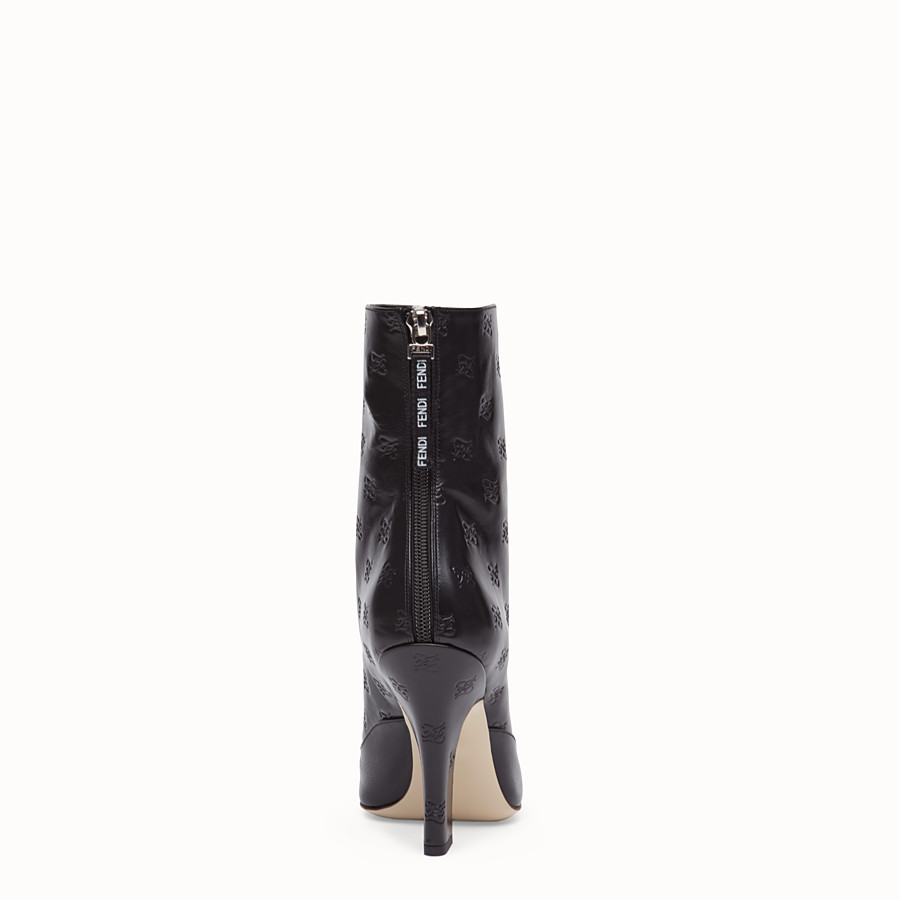 FENDI BOOTS - Black leather booties - view 3 detail