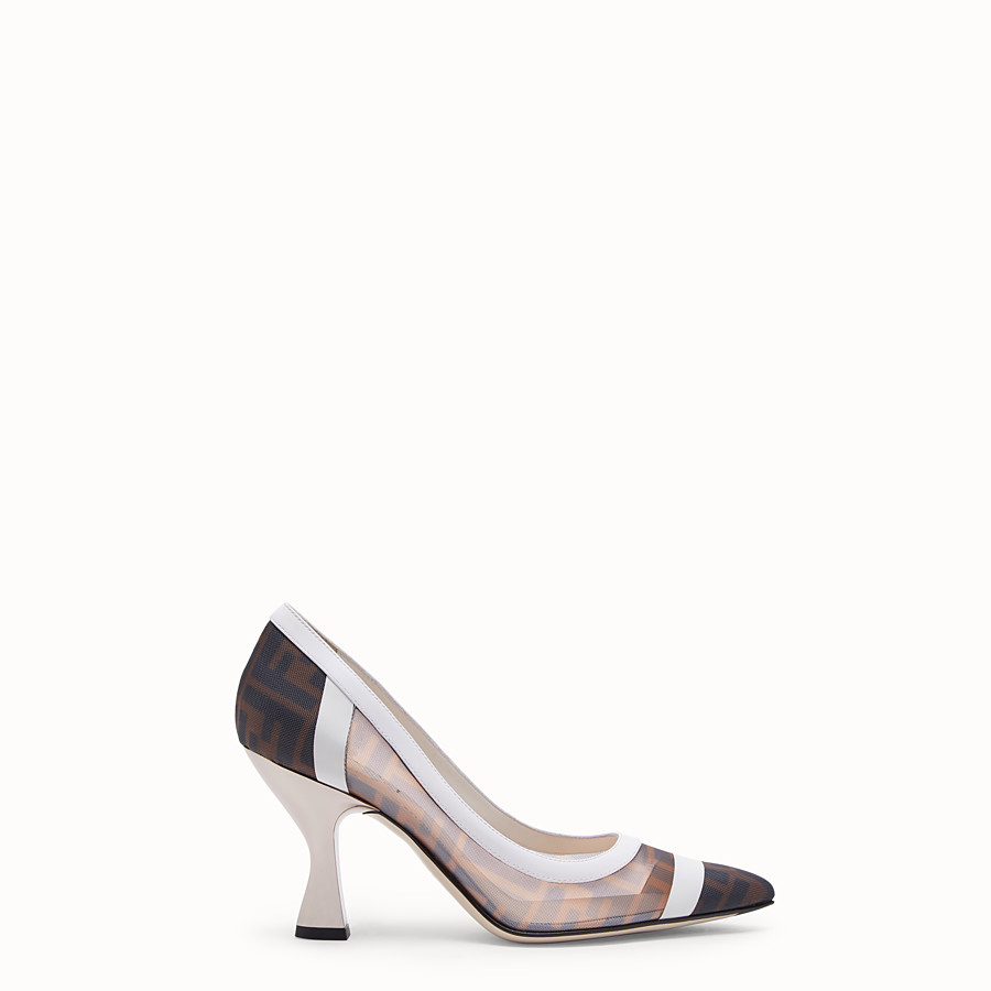 0124145dde Mesh and white leather court shoes - PUMPS | Fendi