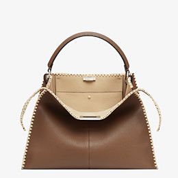 FENDI PEEKABOO X-LITE LARGE - Brown leather bag - view 1 thumbnail