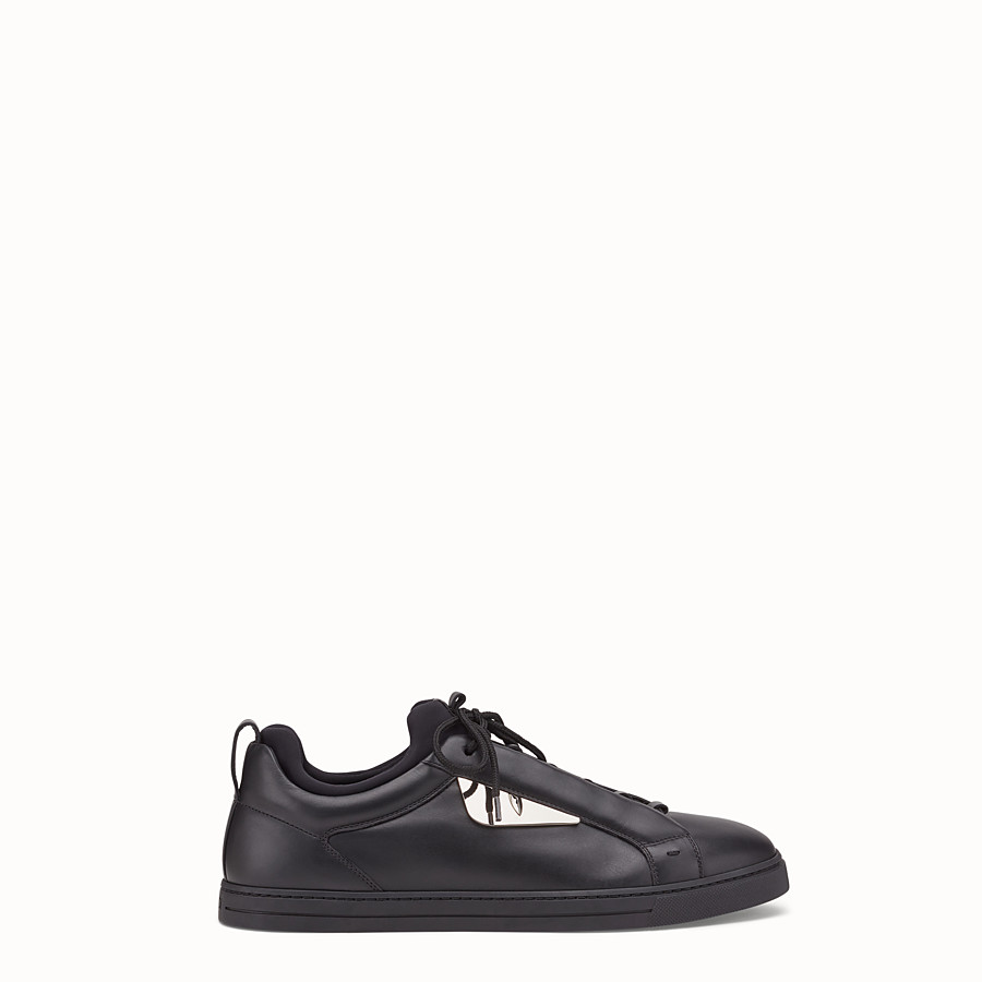 FENDI SNEAKER - Black leather low-tops - view 1 detail