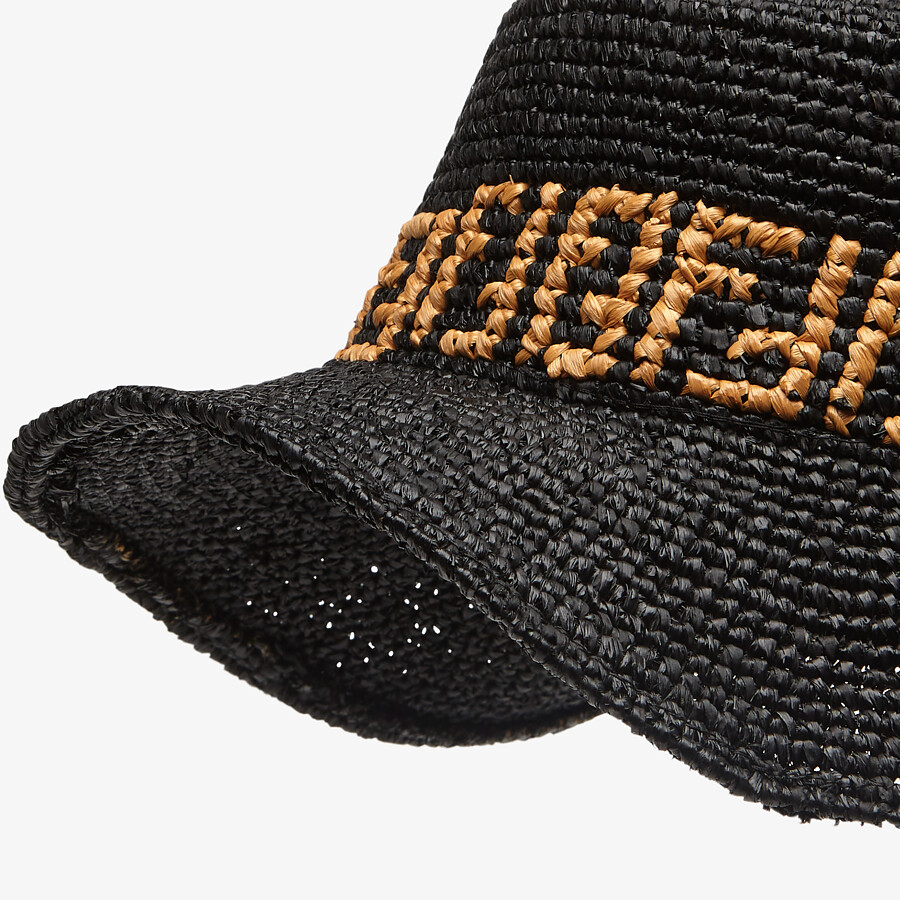 FENDI HAT - Black raffia bucket hat - view 2 detail