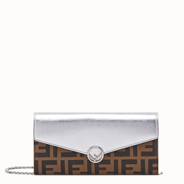 FENDI CONTINENTAL WITH CHAIN - Silver leather wallet - view 1 small thumbnail