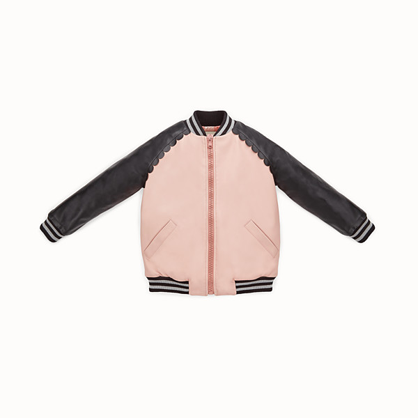 FENDI BOMBER - Bomber junior girl in pelle nero e rosa - vista 1 thumbnail piccola
