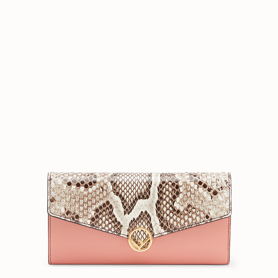 FENDI CONTINENTAL - Pink leather wallet with exotic details - view 1 detail