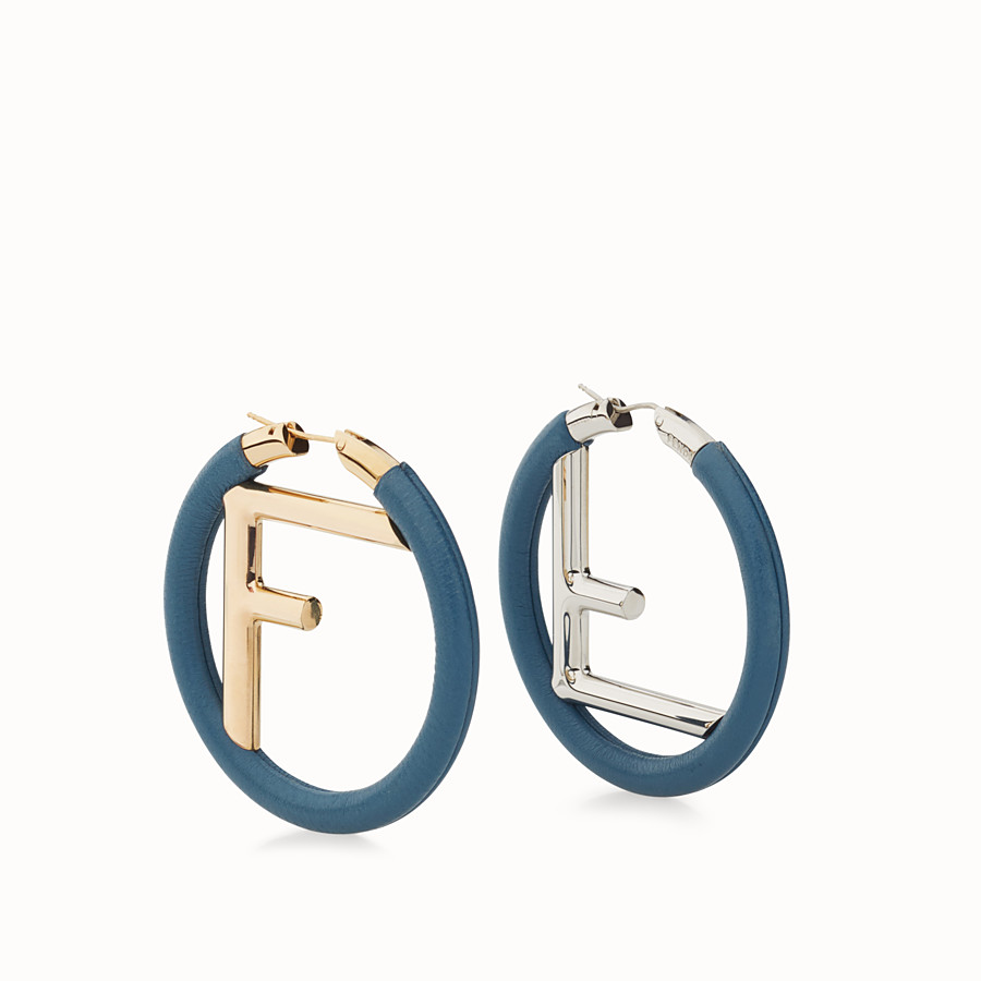 FENDI F IS FENDI EARRINGS - Blue nappa leather earrings - view 1 detail