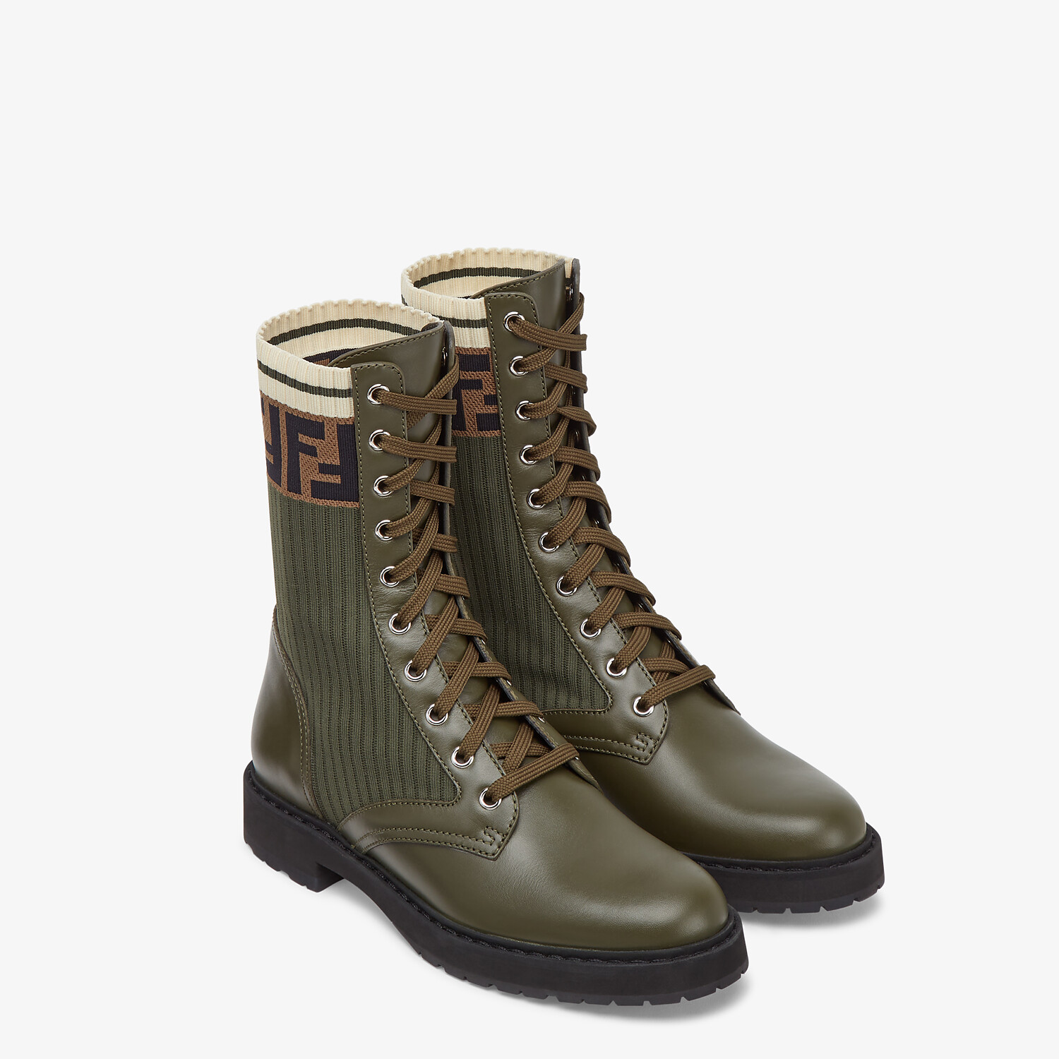 FENDI ANKLE BOOTS - Green leather biker boots - view 4 detail