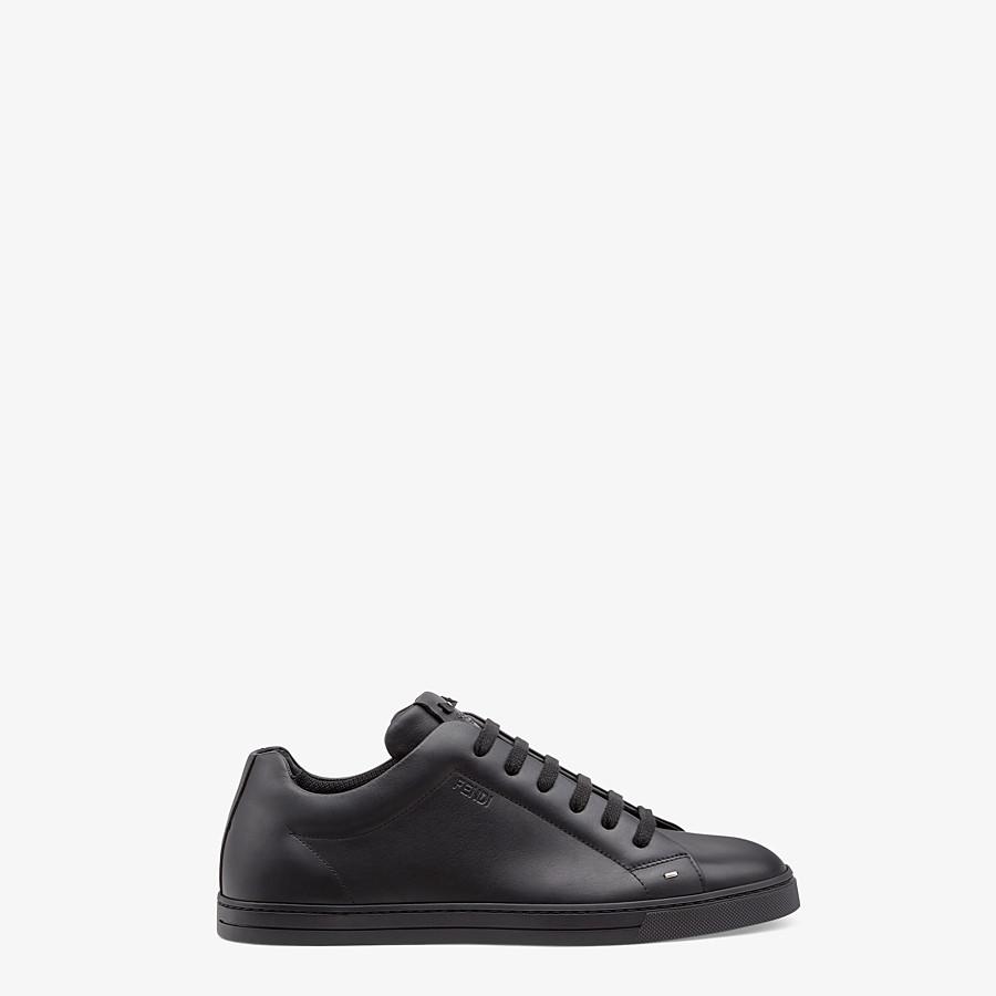 FENDI SNEAKERS - Black leather low-tops - view 1 detail